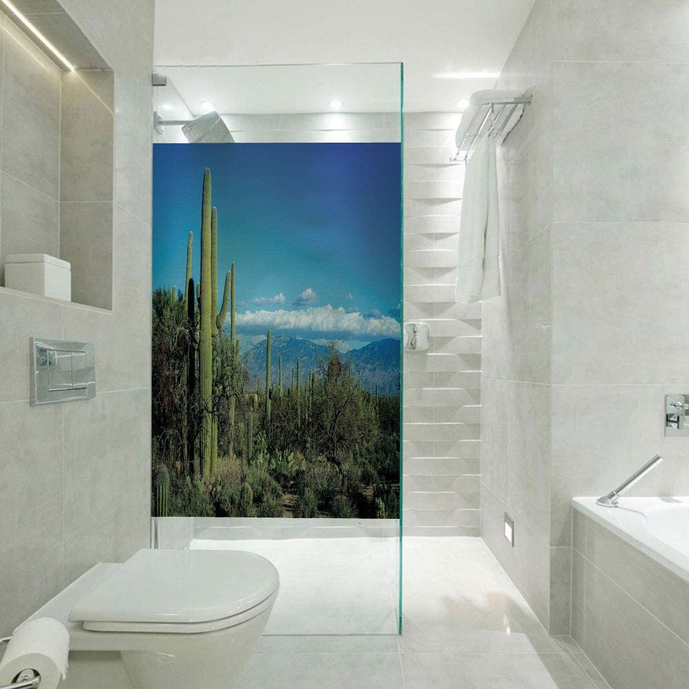 Glass Paper Window Decorative Film,Wide View of The Tucson Countryside with Cacti Rural Wild Landscape Arizona Phoenix,Customizable Size,Suitable for Bathroom,Door,Glass etc,Green Blue