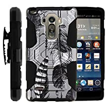 LG Stylo Case, Belt Clip, Full Protection Hybrid Armor Reloaded w/ Kickstand - Artistic Tribal Patterns - for LG G Stylo, G4 Stylus LS770, H631, MS631 by MINITURTLE - Black and White Feathers