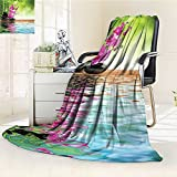 YOYI-HOME Throw Microfiber Duplex Printed Blanket Spa Decor Orchid Flower Stone Oriental Culture Spirituality Wellness Tropical Holiday Anti-Static,2 Ply Thick,Hypoallergenic/W79 x H59