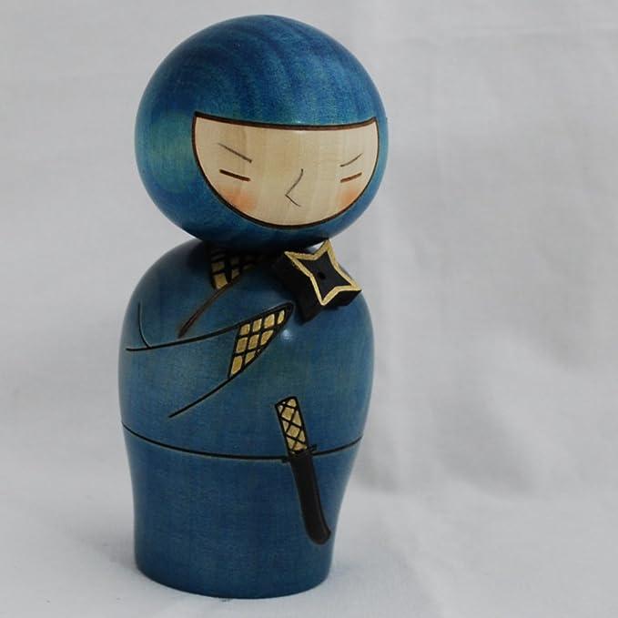 Japonés Muñeca Kokeshi - hecha a mano en Japón - Ninja ...