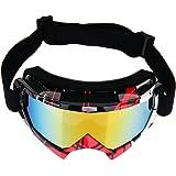 Rrimin New Professional Motocross Goggles Dirt Bike ATV Motorcycle Ski Glasses (Black and Red)