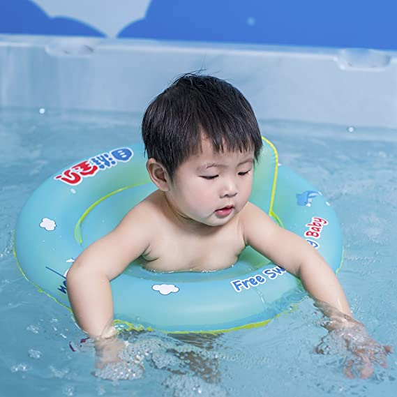 Amazon.com: Free Swimming Baby Baby Swim Ring Seat Float Boat Trainer Inflatable Swimming Pool for The Age of 6 Months-18 Months(S): Toys & Games