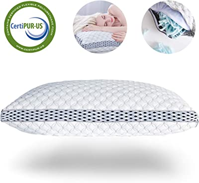 LIANLAM King Memory Foam Pillow for Sleeping Shredded Bed Bamboo Cooling Pillow with Adjustable Loft 4D Design Hypoallergenic Washable Removable Derived Rayon Zip Cove (King)