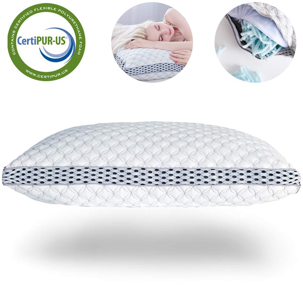 LIANLAM Memory Foam Pillow for Sleeping Shredded Bed Bamboo Cooling Pillow with Adjustable Loft 4D Design Hypoallergenic Washable Removable Derived Rayon Zip Cove (Queen) by LIANLAM