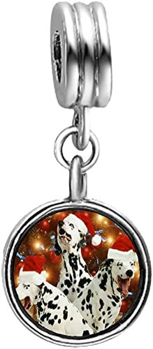 GiftJewelryShop Christmas Dalmatian Dogs Photo Topaz Crystal November Birthstone Flower Dangle Charm Bracelets
