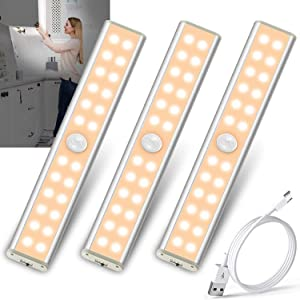 LED Closet Light Motion Activated Under Cabinet Lighting Rechargeable Battery Homelife Motion Sensor Light Indoor Undercounter Lights Wireless Magnetic Night Light Bar for Kitchen Cupboard Stair Shelf