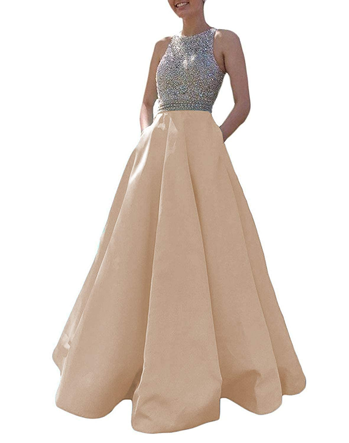 Champagne Promworld Women's Crystal Beaded Prom Dress Long Satin A Line Open Back Evening Party Dress with Pocket