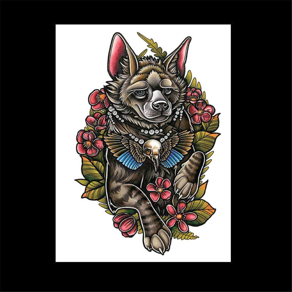 zgmtj Lobo Cabeza Flor Brazo Tatuaje Etiqueta Tatoo HB-566 148 ...