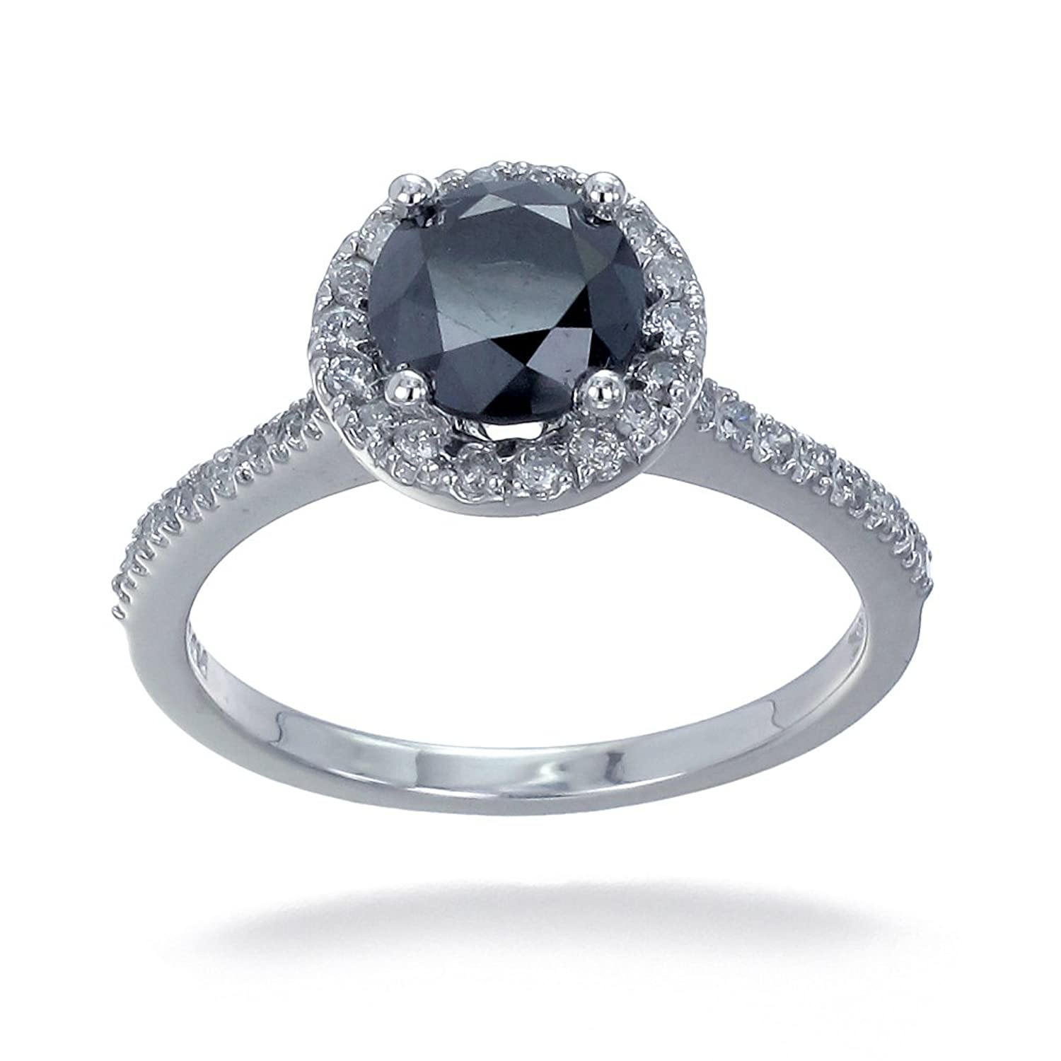 10K White Gold Black Diamond Engagement Ring 1 50 CT