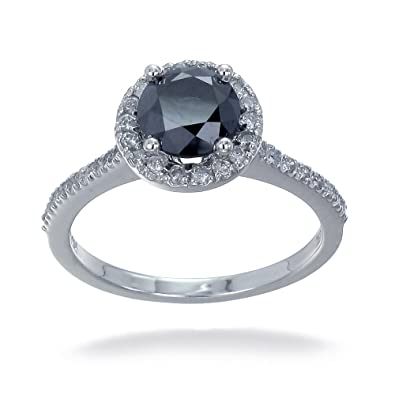 9K White Gold Black Diamond Engagement Ring 1 50 CT In Size O