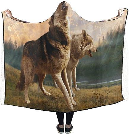 Amazon.com: Dodom - Manta con capucha, diseño de lobo con ...