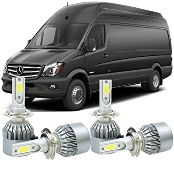 H7 LED de los faros Kit Bombillas para Mercedes Benz Sprinter 2017 - 2014 Hi/bajo Beam 6000 K 4 piezas: Amazon.es: Coche y moto