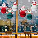 Christmas Party Tissue Paper Banner, Set of 6 Honeycomb Balls, Pom Pom Flower Hanging Home Decoration from Sogorge