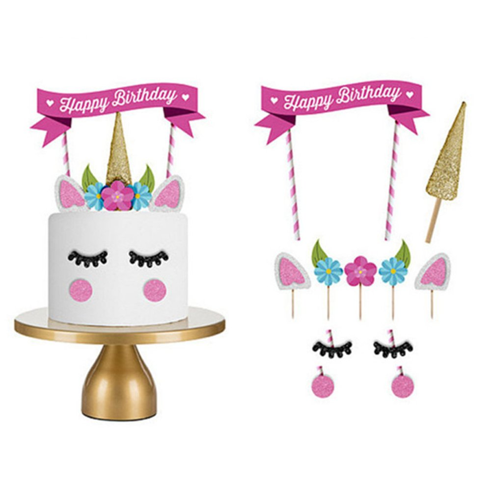 Ears and Eyelashes with Cupcake Toppers and a Bonus Happy Birthday Banner TRENDY BRANDY Unicorn Birthday Cake Topper Set Including a Sturdy Gold Unicorn Horn 9 Pack