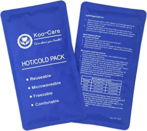 "Koo-Care Flexible Gel Ice Pack for Hot Cold Therapy - Set of 2 - Great for Migraine Relief, Sprains, Muscle Pain, Bruises, Injuries (Medium, 11"" × 5.9"")"