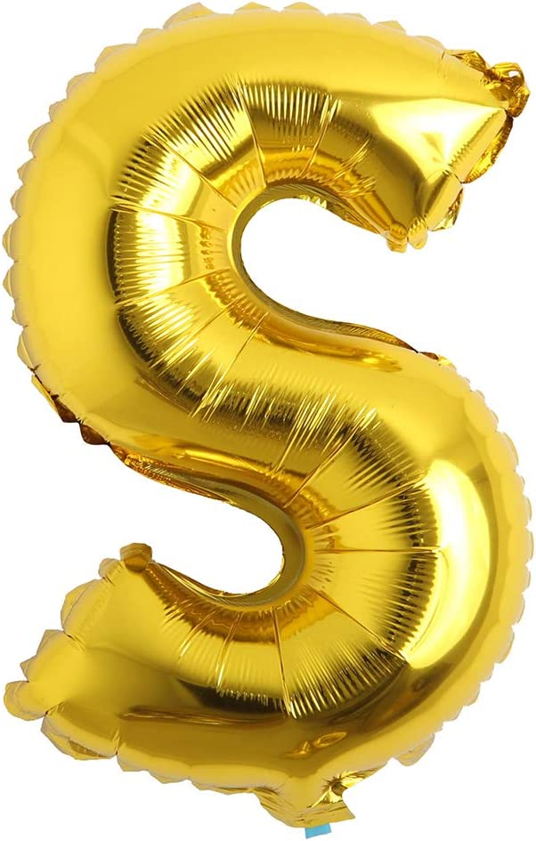 32 inch Letter Balloons Gold Alphabet Number Balloons Foil Mylar Party Wedding Bachelorette Birthday Bridal Shower Graduation Anniversary Celebration Decoration (32 inch S Gold)