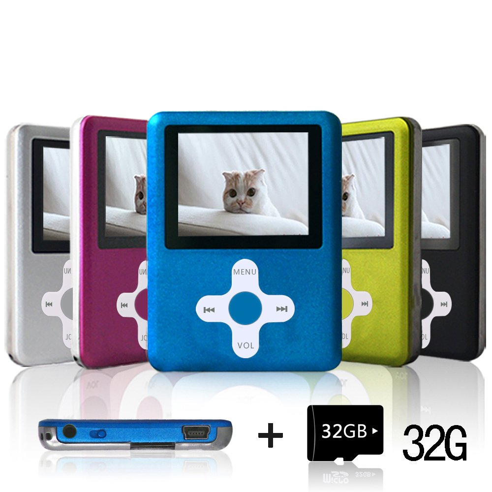 Lecmal Portable MP3/MP4 Player with 32GB Micro SD Card, Economic Multifunctional Music Player with Mini USB Port, MP3 Voice Recorder, Media Player for Kids-Blue