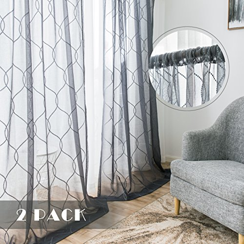 Grey Sheer Curtains Embroidered Semi Sheer Curtains Bedroom Rod Pocket Voile Curtain Panels Living Room 84 inch Length Linen Look Embroidery Window Treatment Set, 1 - Contemporary Sheer Curtains