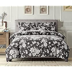 Wake In Cloud - Gray Floral Duvet Cover Set, White Vintage Flowers Pattern Printed on Grey, Soft Microfiber Bedding with Zipper Closure (3pcs, Queen Size)