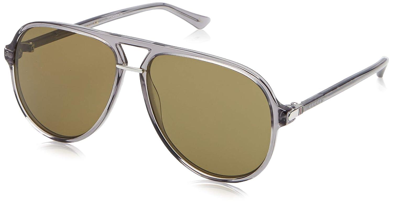 Gucci GG0015S-005 gafas de sol, Gris Transparente, 58 para Hombre