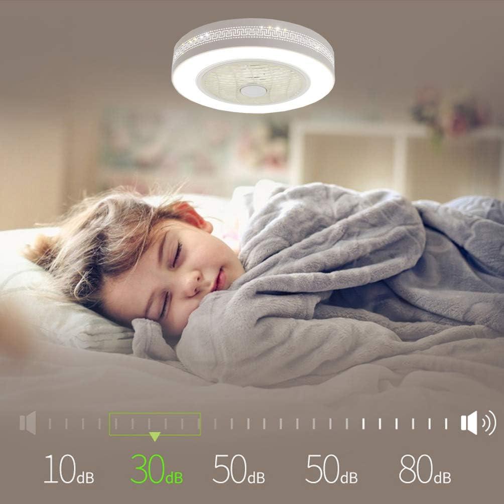 ACHNC Moderno Ventilador de Techo Ni/ños Con L/ámpara,48W LED Luz de Techo Regulable Con Ventilador Invisible Dormitorio Salon Ventilador de Techo Silencioso Con Mando a Distancia Temporizador