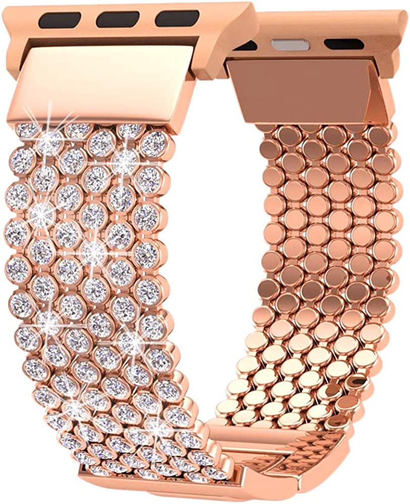 FresherAcc Compatible with Apple Watch Band 42mm 44mm Women, Compatible for iWatch Bands iPhone Watch Series 4 3 2 1, Sport, Hermes, Nike, Crystal Mesh Chain Replacement Straps