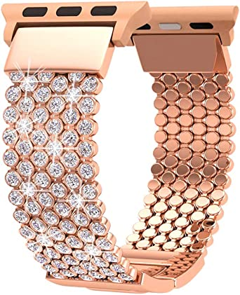FresherAcc Compatible with Apple Watch Band 42mm 44mm Women, Compatible for iWatch Bands iPhone Watch Series 4 3 2 1, Sport, Hermes, Nike, Crystal