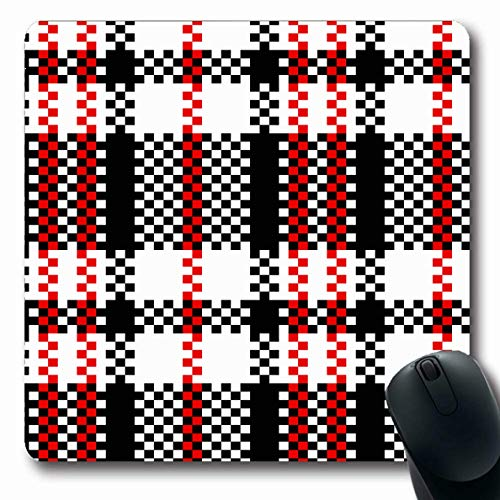 Ahawoso Mousepad Oblong 7.9x9.8 Inches White Red Check Plastic Plaid Checker Black Abstract Kilt Pattern Tartan Tweed Woven Geometric Design Office Computer Laptop Notebook Mouse Pad,Non-Slip Rubber