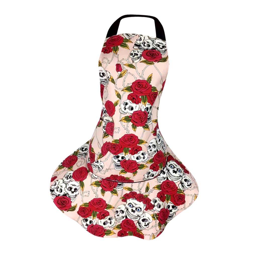Dovewill Cotton Kitchen Aprons Women Dress Restaurant Apron Restaurant Dress Pink/Black - Pink, as described
