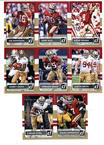 2015 Donruss Football San Francisco 49ers Team Set of 8 Cards: Colin Kaepernick, Carlos Hyde, Torrey Smith, Vernon Davis, Justin Smith, Joe Montana, Jerry Rice, Steve Young In Protective Snap Case
