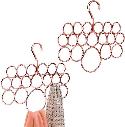 mDesign Juego de 2 perchas múltiples – Percha para pañuelos ...
