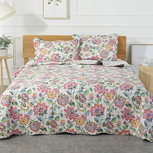 (Mohap Reversible Quilt Set with Shams Twin Size Hypoallergenic for All Season Pattern#4)