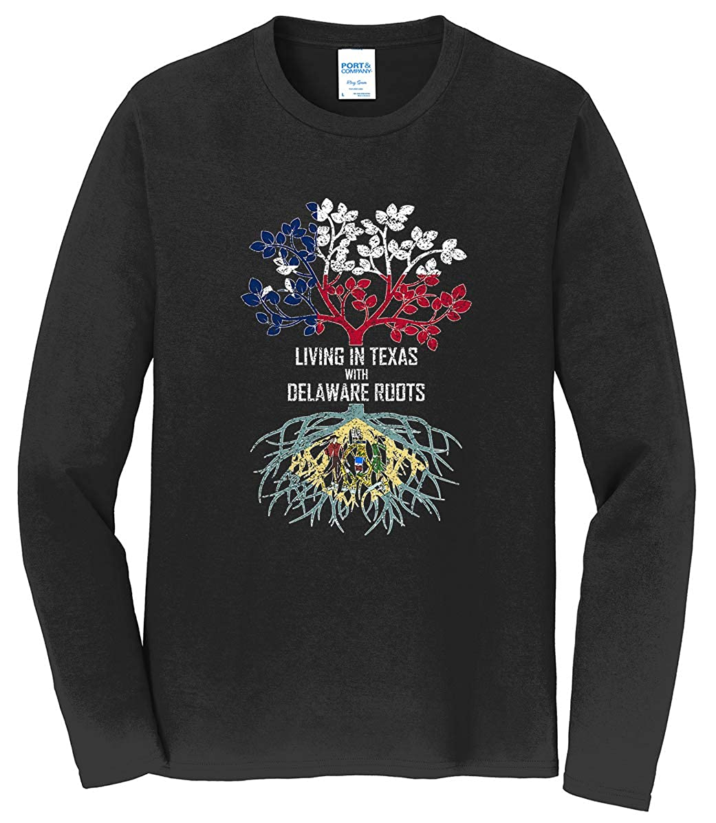 Tenacitee Mens Living in Texas Delaware Roots T-Shirt