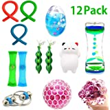 AbeyongD 12Pack Bundle Sensory Toys -Soft Egg Slime/ Bike Chain/ Liquid Motion Timer/ Mesh & Marble Toy/ Soybeans Squeeze Grape Ball Stretchy String Mochi Animals Stress Toy for ADD ADHD Stress Relax