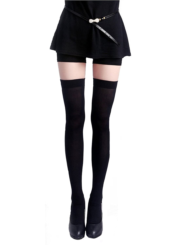 Honeystore Women's Opaque Thigh Highs Black Long Schoolgirl Silk Stockings Hose