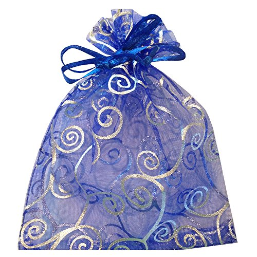 50-organza-gift-bags-blue-with-silver-details-size-7-by-5-inches