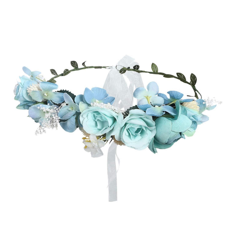 Romantic Boho Flower Crown Wedding Hair Accessories Floral Headband For Girls Seaside Headwear For Women,B