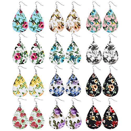 Sntieecr 12 Pairs Flower Colors Leather Earrings Lightweight Teardrop Petal Drop Earrings Faux Leather Leaf Dangle Earrings for Women Girls