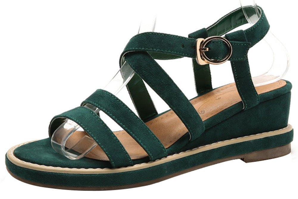 Mofri Women's Stylish Open Toe Sandals - Faux Suede Platform - Buckle Wedge Medium Heels Gladiators Shoes B07D4GQRJS 9 B(M) US|Green