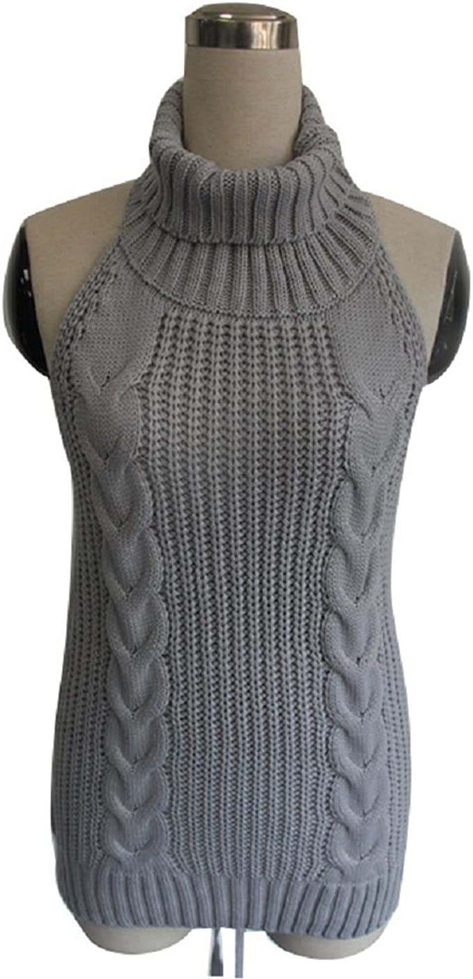 Anyren Womens Turtleneck Sweater Vests,Backless Sleeveless Sweater One-Piece Bikini Knit Tank Top