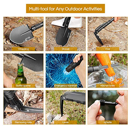 outlife Folding Shovel, Mini Military Survival Shovel 24.41 Inch Entrenching Tool with Carrying Pouch for Camping, Hiking, Backpacking, Gardening, Off Road
