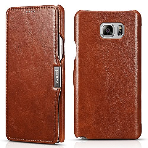 Icarercase Vintage Genuine Leather Wallet Case for Samsung Galaxy Note 5 Mobile Phone Flip Cover for Galaxy Note5 5.7 Inch with Credit Card Slot (Brown)