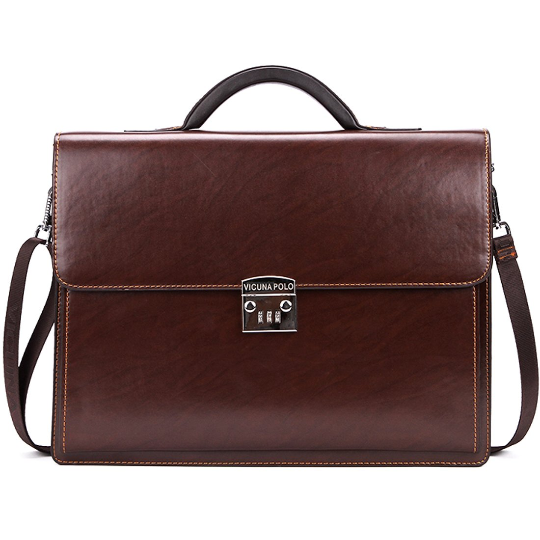 VICUNA POLO Briefcase For Men Handbag Business Man Bag Laptop Bag With Code-Lock (brown)