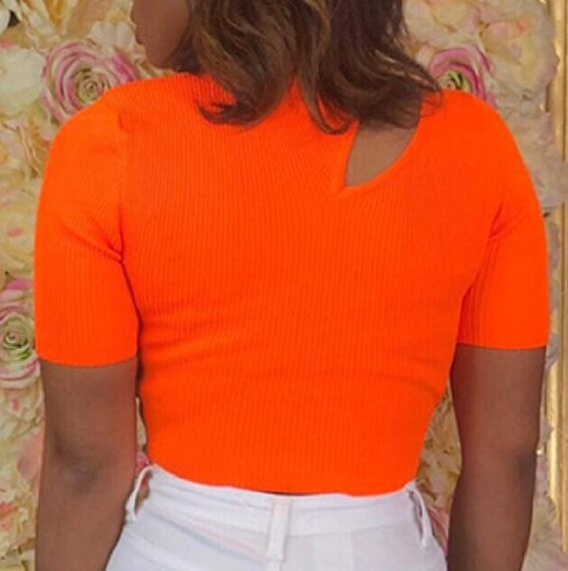Womens Short Sleeve Round Neck Cut Out Solid Basic Crop Top