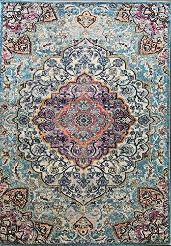 Traditional Antiquated Distressed Area Rug Persian Turquoise Purple Grey Aqua Gray Teal Oriental Design 1030 7 Feet 9 Inch X 10 Feet
