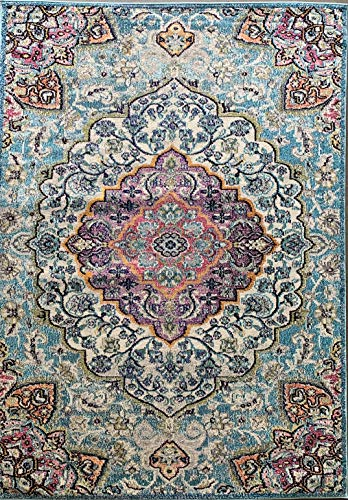 Expressions Traditional Antiquated Distressed Area Rug Persian Turquoise Purple Grey Aqua Gray Teal Oriental Design 1030 (7 Feet 9 Inch X 10 Feet)