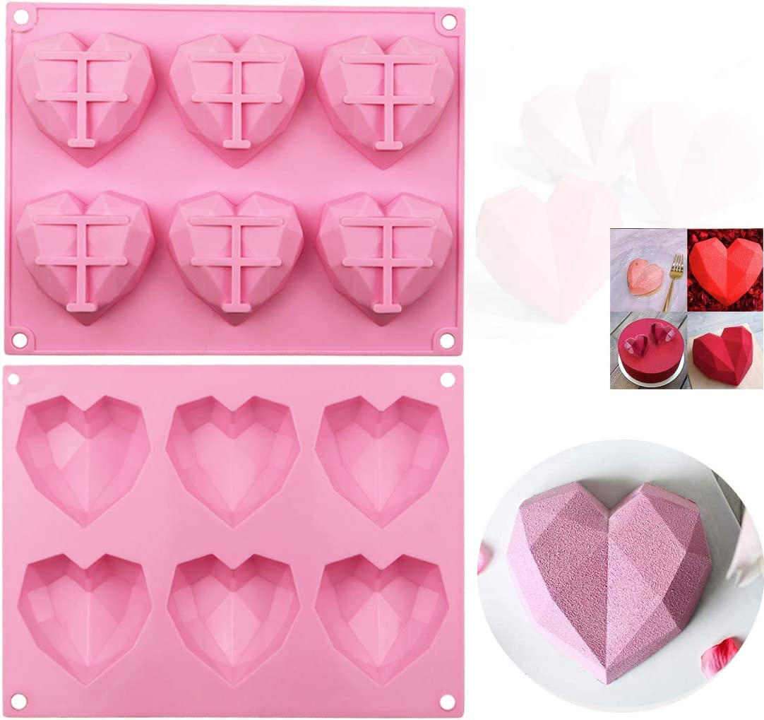 Cake Mold Chocolate Mould 6-3D Diamond Jewel Flexible Silicone Mold For Handmade Soap Candle Candy Cookie Icing Cake Fimo Resin Crafts