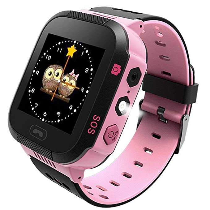 Kids GPS Smartwatch, SZBXD 1.44 inch Touch Anti-Lost Smart Watch for Children Girls Boys with Camera SIM Calls SOS Smartwatch (T09-Pink)