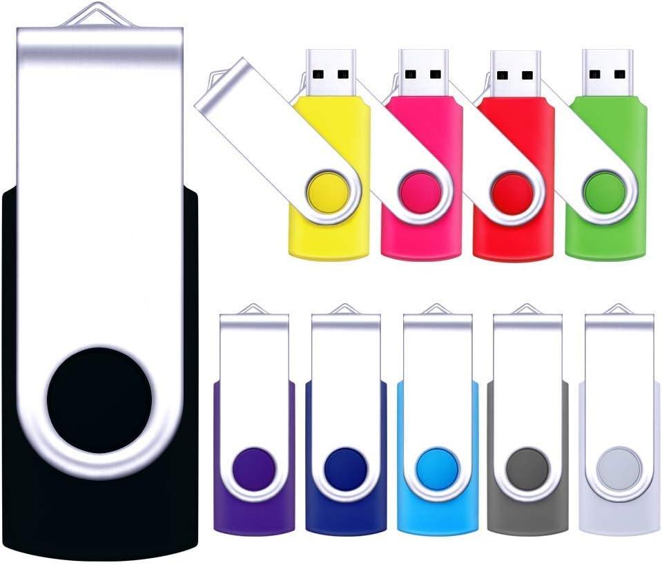 10 Pack 16MB-32GB USB 2.0 Flash Drive Data Storage Rotate Thumb Pen Memory Stick 10X 8GB