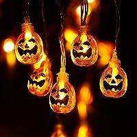 NEXVIN Halloween Decoratie Lichtsnoer, 2M 20 LED Pompoen Lichtsnoer Aangedreven door batterijen, 2 modi, Decoratieve…